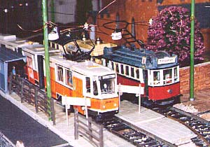 Modern trams on Geoffrey Heywood's HO layout